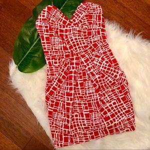 Ark & Co Cherry Red & White Strapless Dress Sz S